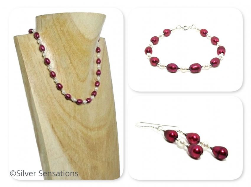 Unique Burgundy Freshwater Pearls Designer Necklace, Bracelet & Earrings Set | Silver Sensations